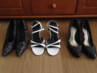3 Beautiful pairs of size 7 high heeled shoes by Images, Kit, Definitions