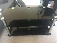 Black Tempered Glass 3 Shelf Corner TV/Media Stand Unit