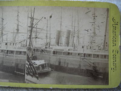 """1800s """"SHIPPING EAST RIVER"""" VIEW OF BOATS STEREOVIEW"""
