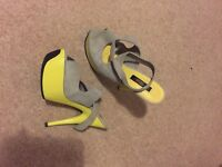 Asos grey and yellow heels size 5