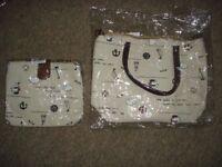pair of handbags (sea/sailing pattern)