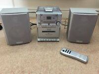 Radio, CD and Cassette Player with 2 Speakers and Remote - Great Condition