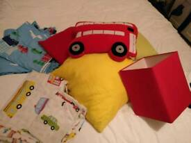 Boys bedroom decorations/bedding/curtains/pictures. Transport.