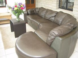 Brown leather Corner sofa with Footstool LOCAL DELIVERY POSSIBLE