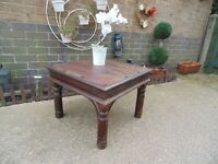 SOLID INDIAN WOOD SMALL COFFEE TABLE IN VERY GOOD CONDITION 60/60/45 cm £25