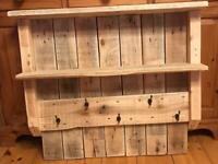 Rustic Hallway Coat Hooks/Shelf