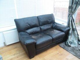 Dark Brown Leather 2 Seater Sofa