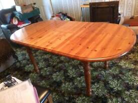 6fe0140fb612 Solid pine dining room table with turned legs. Easily seats 8 -10 ...