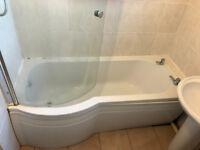 bath, bath screen, sink, toilet all for £20