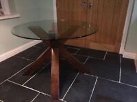 Round Glass Topped Next Table With Dark Solid Wood Legs
