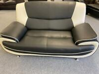 Black and white modern leather 2 seater sofa suite