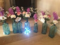 BOMBAY SAPPHIRE 7 X FLORAL TABLE DECORATIONS WEDDING FAIRY LIGHTS ROSE RETRO