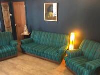 Mid century vintage retro sofa settee arm chairs