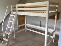 Flexa Hi/Midi sleeper white single bed and mattress with accessories and bunk bed conversion kit