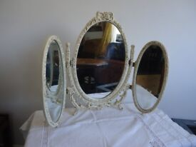 Vintage shabby chic French Louis style triple dressing table mirror