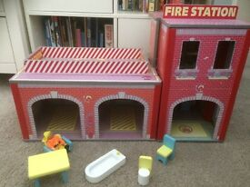 Plum Fire Station Toy