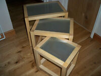Nest of 3 Tables with Smoked Glass Tops