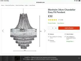 Blenheim 34cm Chandelier Easy fit pendant x 2 £15 each