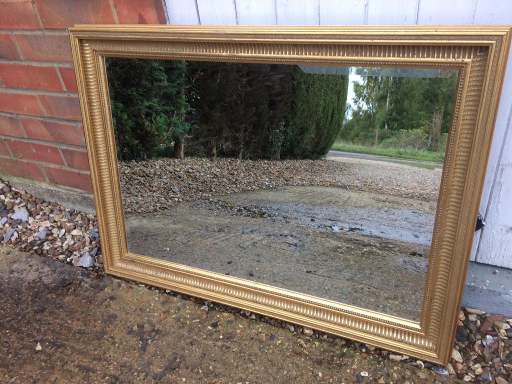 Large Gold framed bevelled edge overmantle Mirror