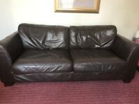 Two Seater and Three Seater Brown Leather Sofas £200 for both or £125 each