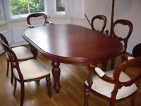 Large reproduction Victorian mahogany extending dining table and 8 chairs