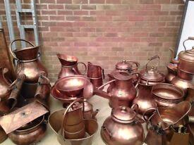 Assorted decorative copper pots