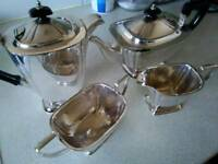 Silver plated tea service with bakelite handles