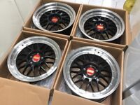 "4 x NEW 17"" BBS LM STYLE ALLOY WHEELS 4x100 4 100 MINI CORSA CLIO LUPO MX5 E30"