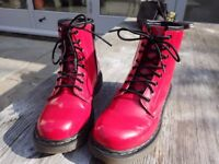 Dr Martens Delaney Patent Boots, Red - size 2