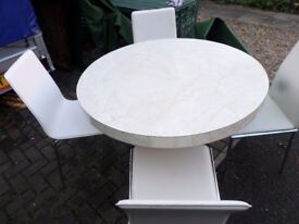 MODERN ROUND PEDISTAL TABLE +4 CHAIRS
