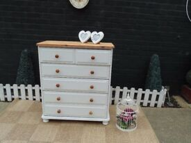 SOLID PINE FARMHOUSE CHEST OF DRAWERS THIS SET HAS BEEN PAINTED WITH LAURA ASHLEY PALE DOVE