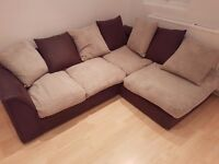 Brown and Cream L Shaped Sofa - Good Condition. Leather and Frabic. Collection only
