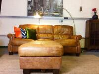 Chesterfield aged Tan leather sofa and footstool