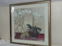 """White Orchid Print in Gold Tone Frame. 31""""x 31"""""""