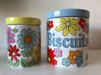 Set of 2 Retro Cath Kidston Kitchen Storage Jars