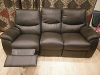 Reclining SOFA - Faux Leather Brown - (3+2) Seat - £150 - (*Offers accepted)