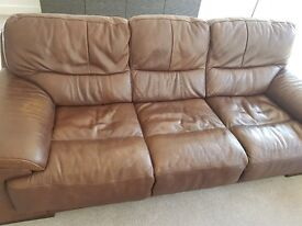 Used brown sofas extremely good condition. 1x 3seater sofa. 1x 2seater sofa. 1x 1seater sofa (opens)