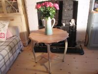 Shabby Chic Solid Oak Vintage Hexagonal Side Table.