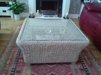 Glass topped coffee table basket effect measures 40cm H x 75cm square