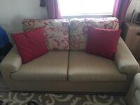 3 Seater Tan Sofa with Cushions