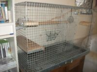 [SILVER] CHINCILLA PET CAGE WITH ACCESSORIES AND BEDDING (CAN BE ALSO USED FOR RABBIT OR CAT)
