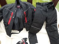 Ladies motorcycle jacket, trousers and gloves