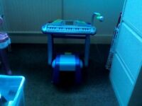 Early Learning Centre electronic keyboard with stool and microphone