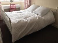 White shabby chic bed frame