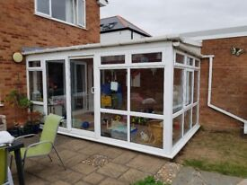 Second-hand UPV conservatory for sale with sliding doors (to be dismantled).