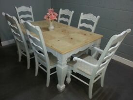 Fantastic Extending Bespoke Shabby Chic Table Set & 6 Chairs