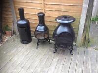Cast iron chimenea / log burner / patio heater from £25