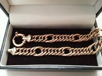 Beautiful Mens / Ladies 9ct Yellow + White Gold Ornate Bracelet, 375 Hallmarked.