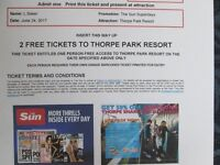2 Thorpe Park Tickets For Saturday 24th June