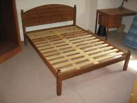 Double bed, wooden slatted base plus mattress